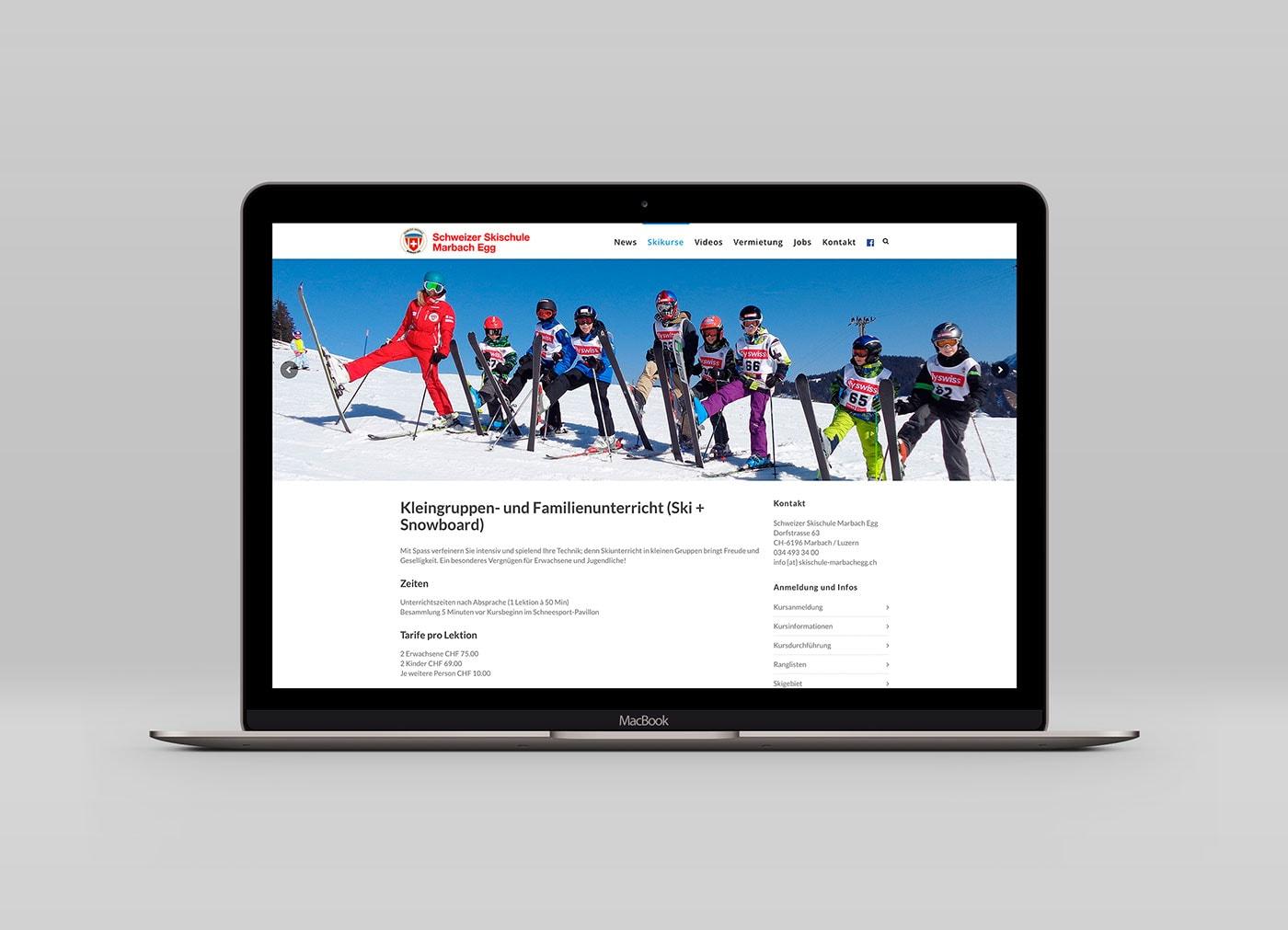 Webseite der Skischule Marbach Egg