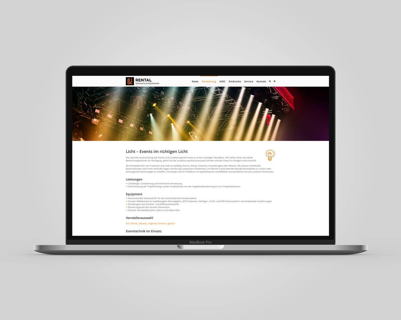 Webseite AIOC Rental